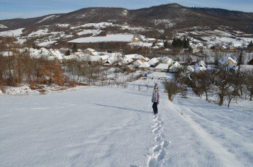 náš pozemek v zimě